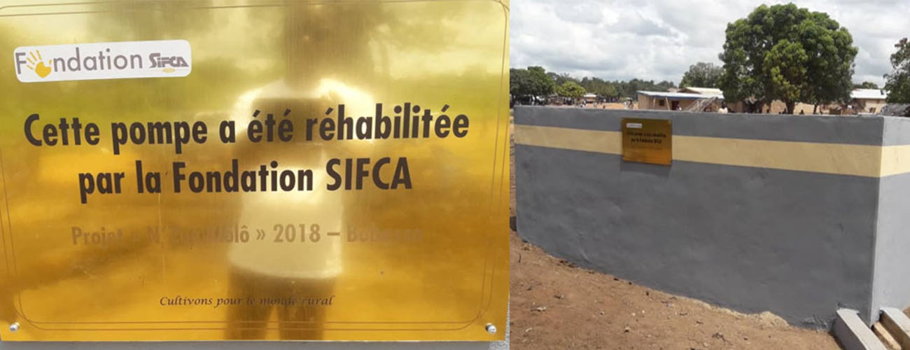 The SIFCA Foundation offers hydraulic pumps to the populations of Bobosso, Sebolo and Gbrakro